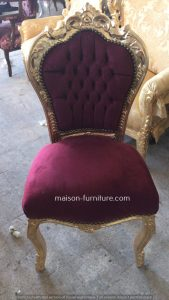 gilded classic baroque chair with red velvet vabric is an antique french furniture for sale