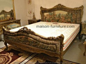 french Louis xv bed queen size upholstered headboard with pattern fabric with gold leaf finish