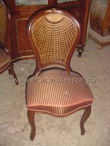 French dining chair reproduction with rattan cane back with polish wood and stripped silk fabric