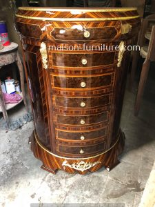 antique french chest of drawers reproduction with 7 drawers, mahogany color veneer inlay