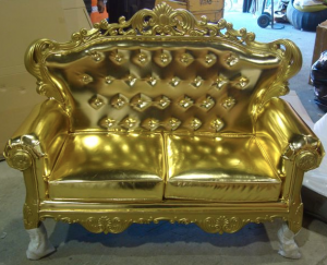antique gilded wood baroque sofa with gold PU Leather fabric is an antique furniture reproduction