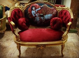 Louis XVI corbeil french armchair gilded wood with tapestry and red velvet fabric is a french furniture reproduction